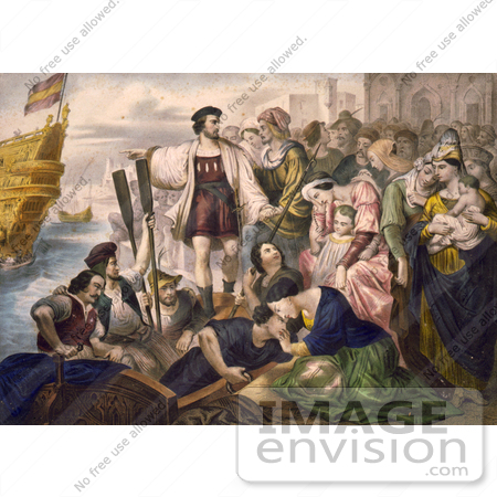 #1637 Illustration of Christoper Columbus and His Crew Leaving the Port of Palos, Spain by JVPD