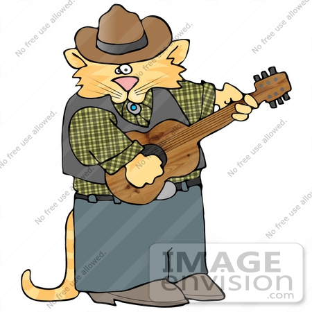 #16426 Orange Cowboy Cat Playing Country Music With a Guitar Clipart by DJArt