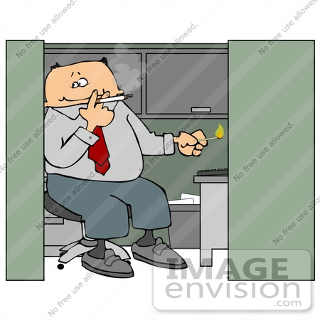 #16458 Male Employee Smoking a Cigarette in His Cubicle at Work Clipart by DJArt