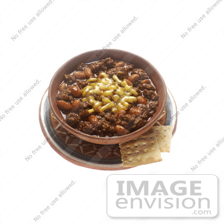 #16939 Picture of a Bowl of Chili Con Carne With Cheese and Crackers by JVPD