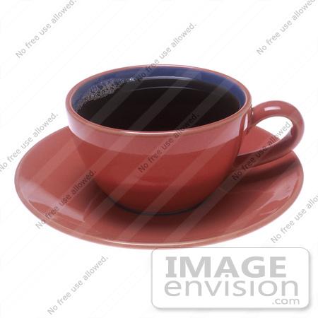 #16958 Picture of a Pink Cup of Black Coffee on a Saucer Plate by JVPD