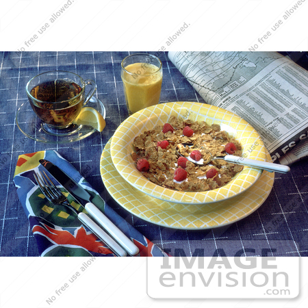 #17111 Picture of Cold Breakfast Cereal, Newspaper, Orange Juice, Tea and Silverware by JVPD