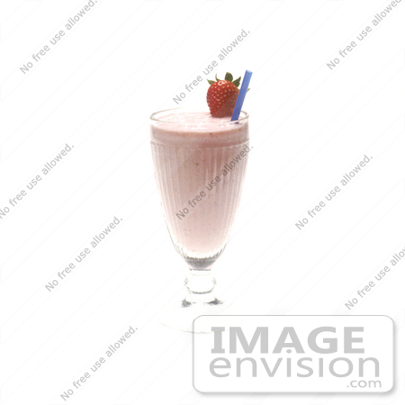 #17138 Picture of a Strawberry Milk Shake With a Blue Straw, Topped With a Whole Strawberry by JVPD