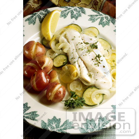 #17146 Picture of a Fish Meal Served With Boiled Potatoes, Steamed Zucchini and Squash and a Spring of Parsley With a Lemon Slice by JVPD
