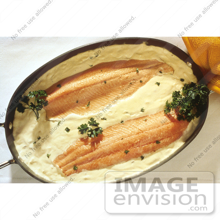 #17149 Picture of Two Pieces of Fish in Yellow Sauce and Garnished With Parsley in a Casserole Dish by JVPD
