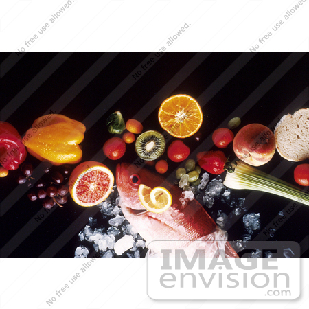 #17159 Picture of a Fish on Ice With Fruits and Vegetables on a Black Background by JVPD