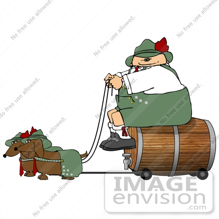 #17240 Caucasian Oktoberfest Man on a Beer Keg Wagon, Being Pulled by Two Dashund Dogs Clipart by DJArt