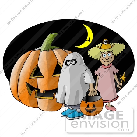 #17255 Two Halloween Trick-or-Treaters, a Ghost And Fairy, Standing Under a Crescent Moon By a Jack-O-Lantern Clipart by DJArt
