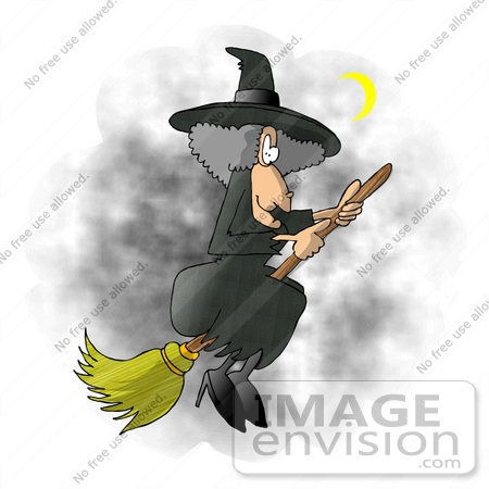 #17258 Gray Haired Female Halloween Witch Flying on Her Broom Stick in a Night Sky by a crescent Moon Clipart by DJArt