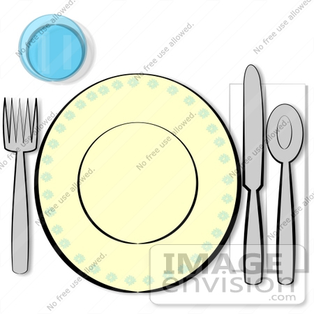 17264 Table Place Setting With A Cup Fork Plate Knife Spoon