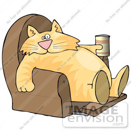 #17343 Chubby Lazy Orange Cat Drinking and Sitting With His Feet Up in a Lazy Chair Clipart by DJArt
