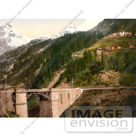 #17362 Picture of the Hillside Town of Berisal Along Simplon Pass in the Swiss Alps, Valais, Switzerland by JVPD