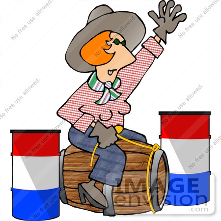#17420 Red Haired Cowgirl Woman Riding a Woodel Barrel Instead of a Horse Clipart by DJArt