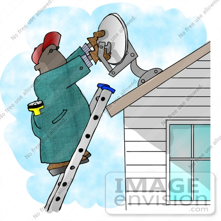 #17421 Man Installing a Satellite Dish on a House Roof Clipart by DJArt
