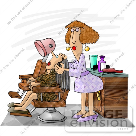 #17422 Hairdresser Woman Working on Her Client Clipart by DJArt