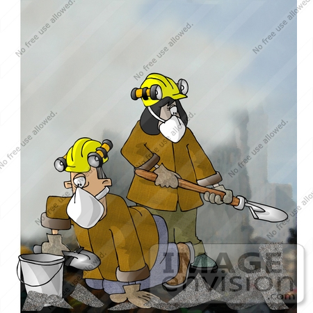 #17425 Search and Rescue Team Digging Through Rubble Clipart by DJArt
