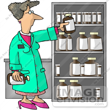 Female Pharmacist by a Shelf of Medicine Clipart | #17430 by DJArt ...
