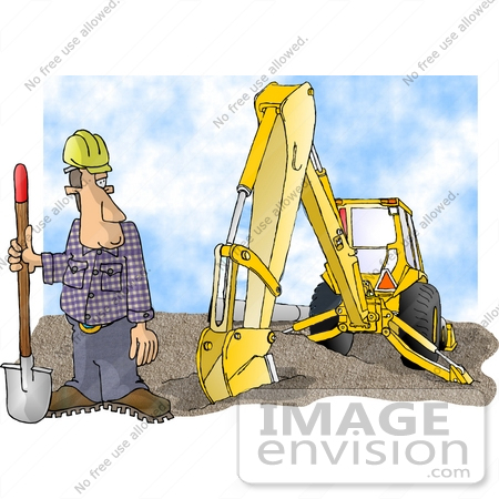 #17431 Construction Worker Man in a Hardhat, With a Shovel and Backhoe Clipart by DJArt