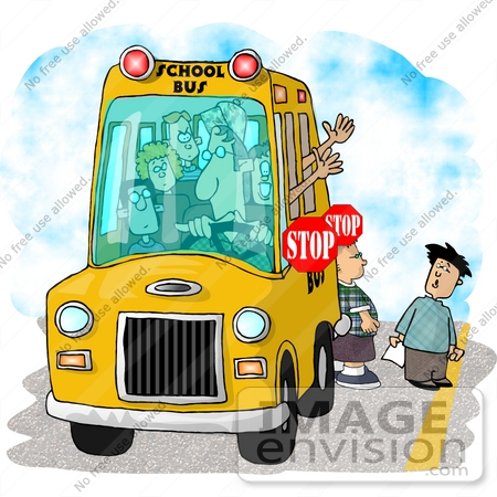 #17450 Shool Bus Driver Stopped With Kids Crossing the Street Clipart by DJArt