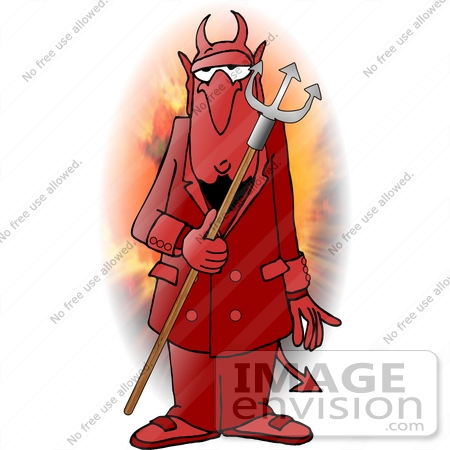 #17466 Devil in a Red Suit, Holding a Pitchfork Clipart by DJArt