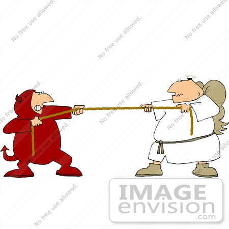 #17467 Angel and Devil Playing Tug of War, Good vs Evil Clipart by DJArt