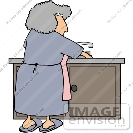 #17475 Senior Woman Washing Dishes at a Kitchen Sink Clipart by DJArt