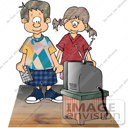 watching tv clipart. #17480 boy and girl watching tv clipart by djart tv p