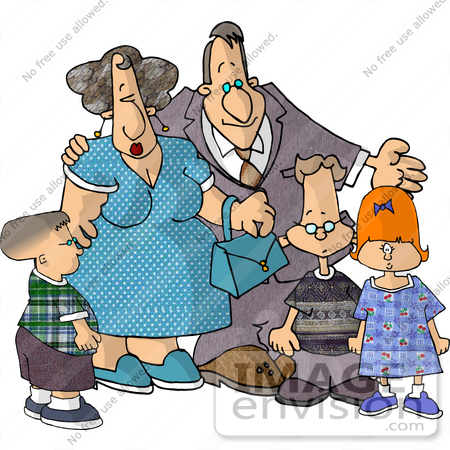#17481 Children With Their Grandparents Clipart by DJArt