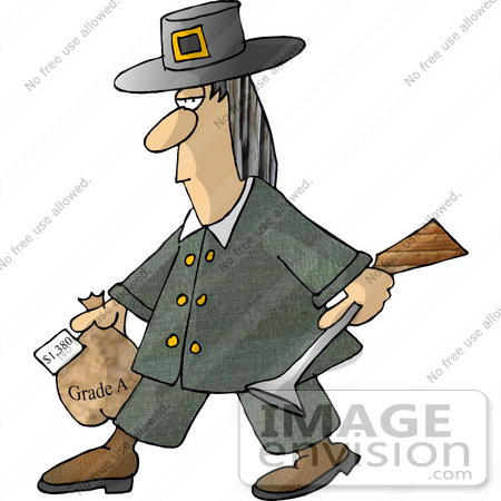 #17484 Pilgrim Turkey Hunter Man Carrying a Blunderbuss Gun and Frozen Turkey Clipart by DJArt
