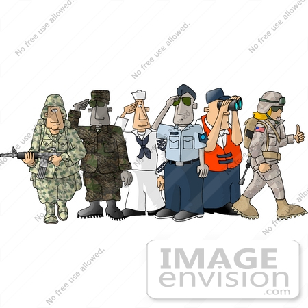 #17485 Men and Woman From Different Branches of the Military Clipart by DJArt