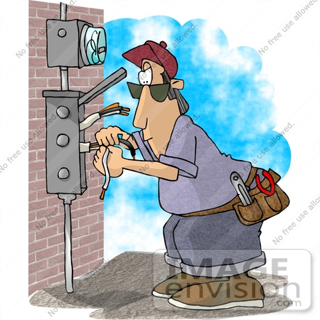 17496 Electrician Man Working On An Electrical Box Clipart By DJArt