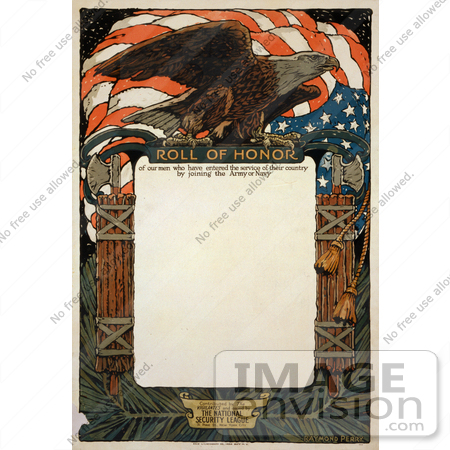 #1759 Stock Photography of an American Flag and Bald Eagle on a Blank Scroll For the Roll of Honor by JVPD