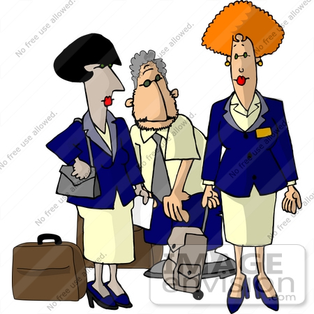 #17638 Group of One Man and Two Women Flight Attendants With Luggage Clipart by DJArt