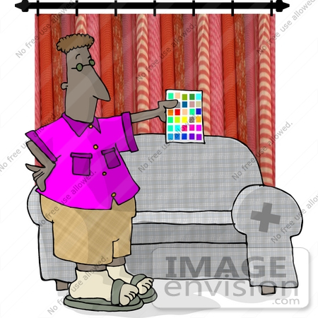 17645 interior designer man holding a sheet of paint color samples in a living room