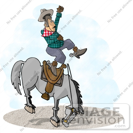 #17654 Cowboy Man Being Bucked off of a Bronco Horse in a Rodeo Clipart by DJArt