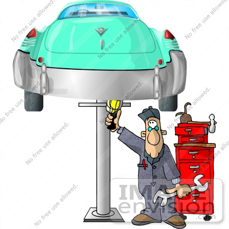 Free Clip  Auto Racing on Auto Mechanic Working On A Classic Car Thats On A Car Lift Clipart