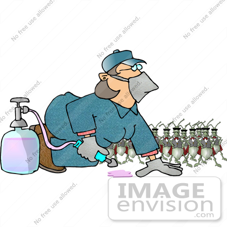 #17668 Insect Exterminator Woman Using Pesticides to Kill Cockroaches Clipart by DJArt