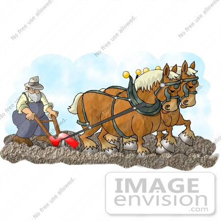 #17673 Clydesdale Worker Horses Pulling a Plow With a Farmer Behind Clipart by DJArt