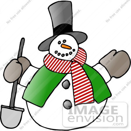 #17676 Frosty the Snowman With a Shovel Clipart by DJArt