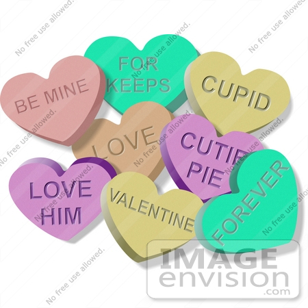 #17681 Worded Colorful Valentines Day Candy Hearts Clipart by DJArt