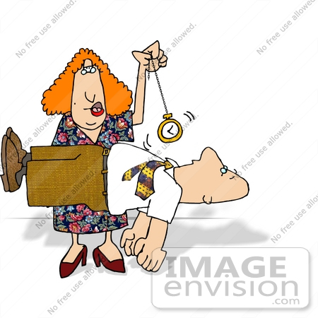 #17683 Hypnotist Woman Swinging a Pocket Watch Over a Client Who is Suspended in Mid Air Clipart by DJArt
