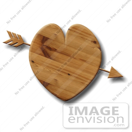 #17686 Arrow Through a Wooden Heart Clipart by DJArt