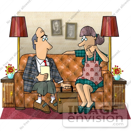 #17688 Life Insurance Agent Discussing a Policy With a House Wife Clipart by DJArt