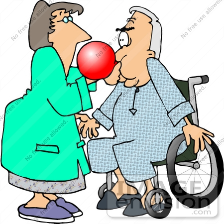 #17692 Respiratory Therapist Assiting a Senior Patient Man With a Balloon Test Clipart by DJArt