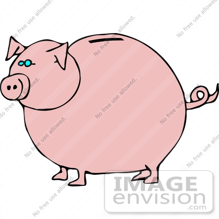 #17693 Pink Piggy Bank With a Coin Slot Clipart by DJArt