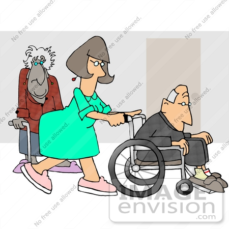 #17694 Nurse in a Hospital, Pushing a Senior Man in a Wheelchair, an Old Lady Using a Cane in the Background Clipart by DJArt