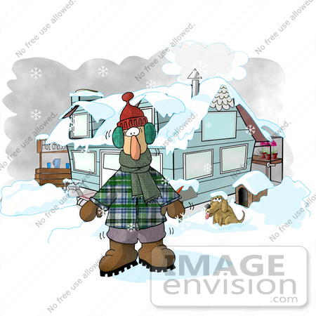 #17707 Man Outside a Hosue, Standing in Winter Clothing, Freezing Cold in the Winter Snow With a Dog, Greenhouse and Hot Chocolate Stand Clipart by DJArt