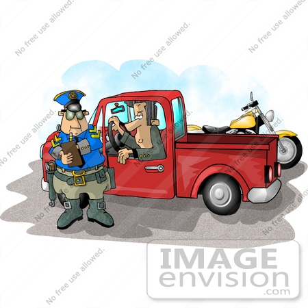 #17709 Motorcycle Cop Man Giving a Pickup Truck Driver a Traffic Ticket