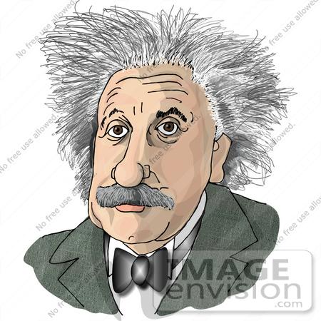 #17769 Caricature of Albert Einstein With Crazy Hair Clipart by DJArt