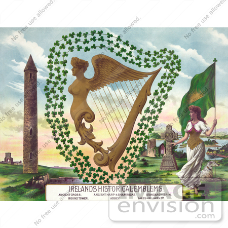 #17775 Picture of Irish Symbols Including a Flag, Dog, Cross, Abbey, Lakes of Killarney, Standard of Erin, Harp, Shamrocks and Round Tower by JVPD